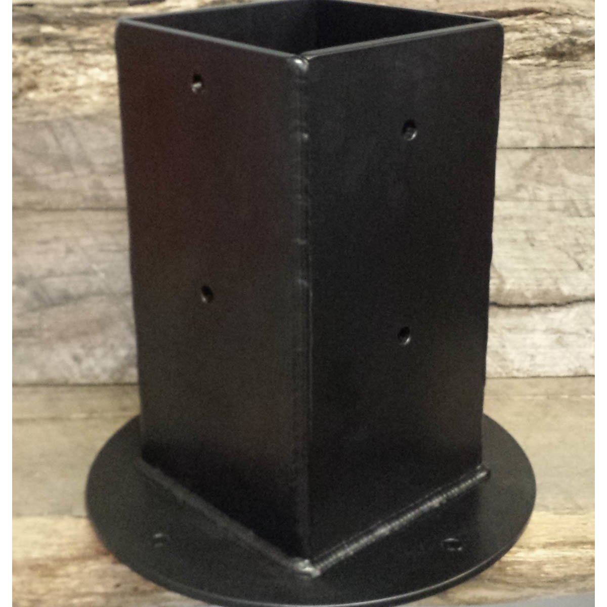 4 - Sided Timber Post Brackets with Sleeve Powder Coated Black