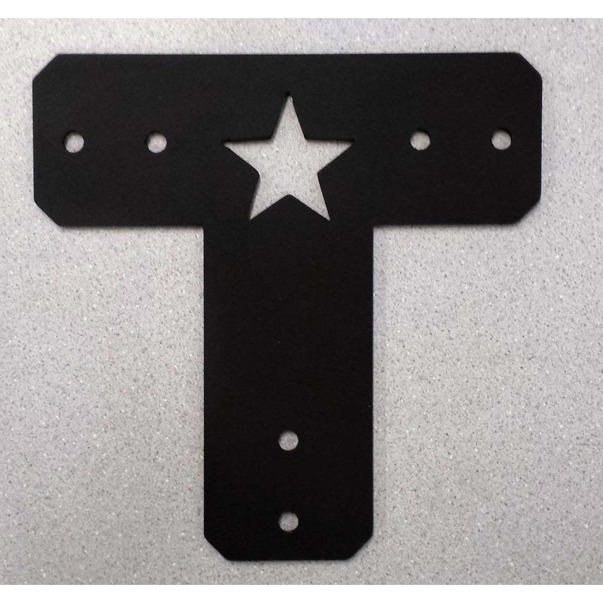 "Decorative Cut Out ""T"" Bracket for Post and Beam With a Star Cut Out"