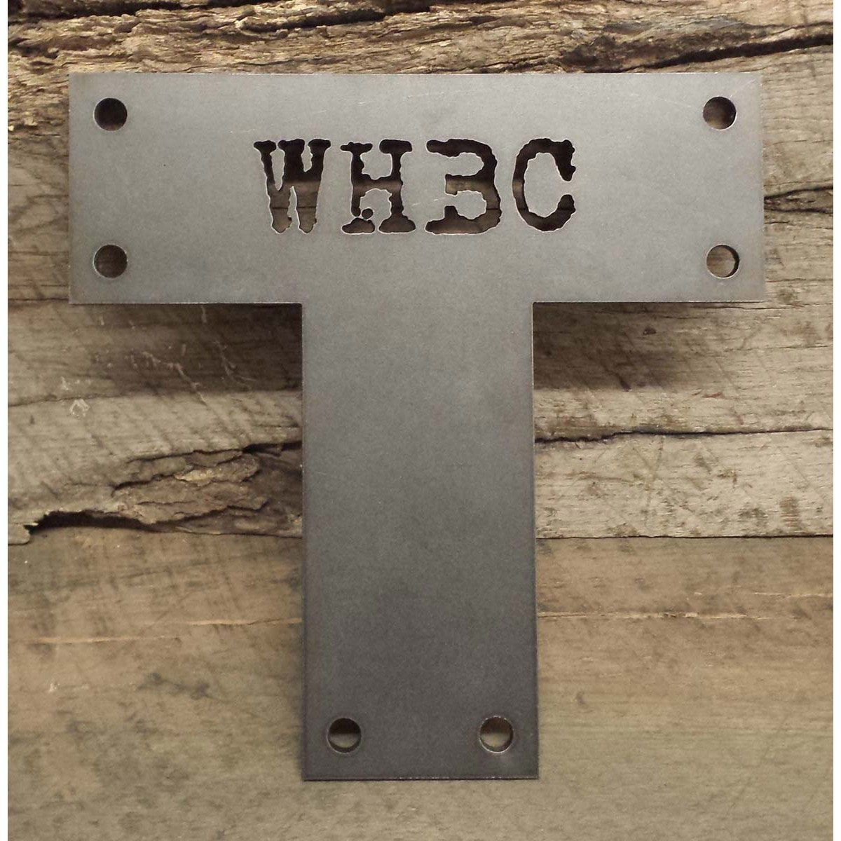 "Decorative Cut Out ""T"" Bracket for Post and Beam with Custom Lettering Cut Out"