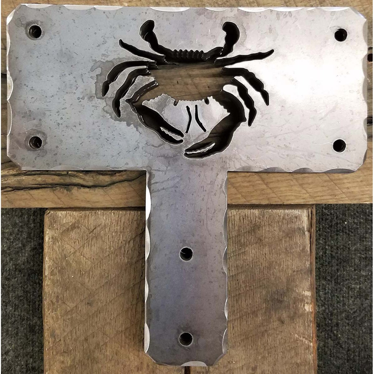 "Decorative Cut Out ""T"" Bracket for Post and Beam with a Crab Cut Out"